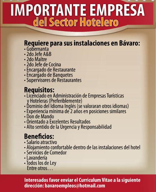 Importante empresa en bavaro con 7 vacantes desemplead2 - Ofertas de empleo jefe de cocina ...