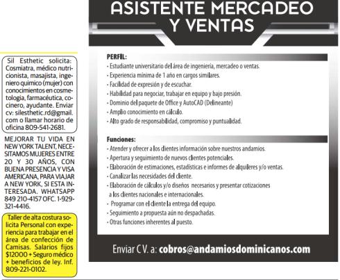 Asistente de Mercadeo, Ventas, Cosmiatra, Medico Nutricionista ...